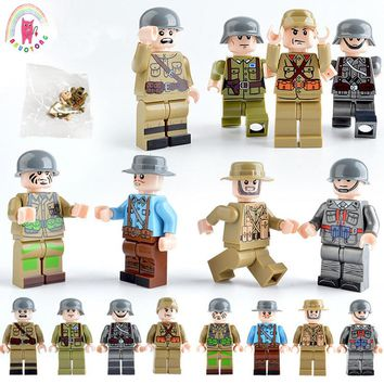 8pcs Military WW2 USA Soviet Chinese German Japanese GB Italian French Army Doll Building Blocks Brick Kids figures toy