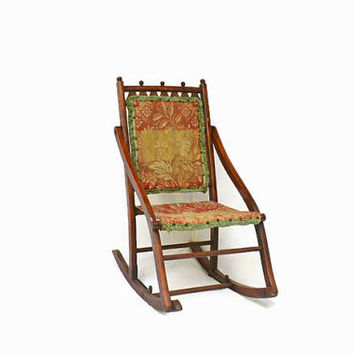 Antique Rocking Chair, Folding Chair, Carpet Covered Rocker, Victorian Style Wooden Furniture, American Historical