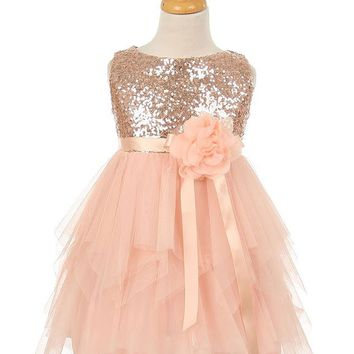 Sequin Mesh Dress with Satin Ribbon