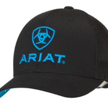 Ariat Blue Logo Embroidered Flex Fit Black Cap