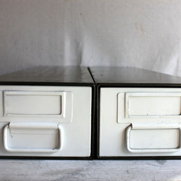 2 Industrial Metal File Drawers : vintage