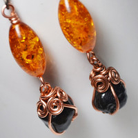 Obsidian Drop Earrings Wire Wrapped Raw Obsidian and Amber Copper Dangle Earrings Black Rock Desert Burning Man Jewelry Niobium Ear wires