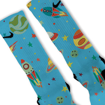 Space Galaxy Day Fast Shipping!! Nike Elite Socks Customized Lebrons Kobes KD