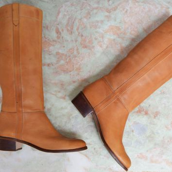 Vintage Light Brown Caramel Knee High Riding Campus Leather boots size 7.5