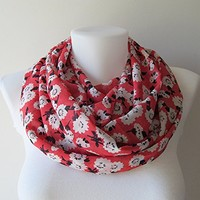 Coral Red Infinity Scarf, Floral Pattern Chiffon Infinity Scarf, Circle Scarf, Women Loop Scarf, Fall Winter Spring Summer Fashion, For Her