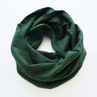 Houndstooth Green and Black Scarf- Soft Flannel Infinity Scarf