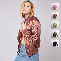 Women Streetwear Longline MA1 Padded Bomber Jackets Satin 5 Colors S/M/L Solid Zipper Coat Women Cloths chaquetas mujer 2016