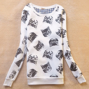 Korean Winter Pullover Cartoons Long Sleeve Round-neck Lovely Hoodies [9036925132]