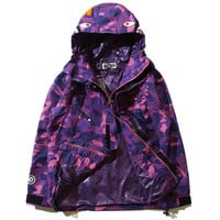 BAPE X MMJ DARK PURPLE CAMO SNOWBOARD JACKET