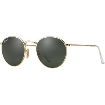 Ray Ban Round Sunglasses Matte Gold, Classic Green G-15 Polarized RB 3447 112/58