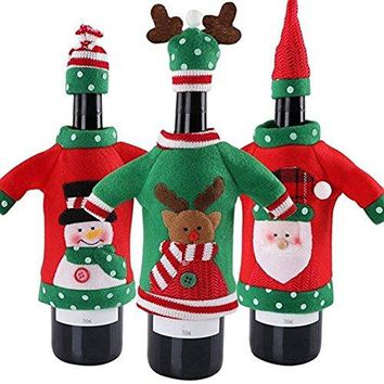 Christmas Wine Cover Sweater Ugly Wine Cover Santa Reindeer And Snowman Red Wine Bottle Cover for Christmas and new year Party Decoration3Pcs
