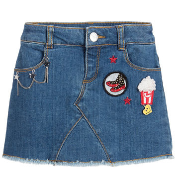 Little Marc Jacobs Denim Skirt With Patches (Mini-me) | New Collection