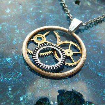 "Clockwork Pendant ""Flight"" Recycled Mechanical Watch Gears and Intricate Sculpture Wearable Art Not Quite Steampunk Assembly Necklace"