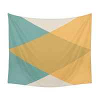 Mid Century Tapestry, Vintage Colors, Minimal Geometry, Nordic Bedroom, Retro Decor, Modern Wall Tapestries, Wall Decor, Yellow, Turquoise
