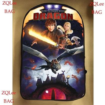 School Backpack 13inch how to train your dragon backpack double layer dragong trainer children Pikachu School bags men women custom made AT_48_3