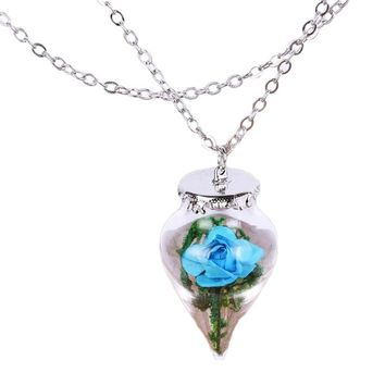 Rose Pendant Necklace Flower  Retro Glass Vial  Mother's Day Gifts