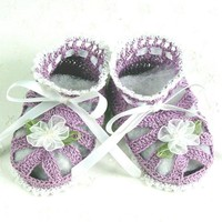 Adorable Crocheted Violet & White Sandal Baby Booties - 0-3 Mos.