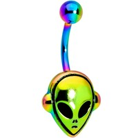 Rainbow PVD Creepy Space Alien Belly Ring