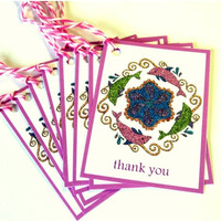 SPRING SALE 9 Gift Tags, Dolphins Mandala Art, Blue Lavender Green White, Hang Tags, Merchandise Tags