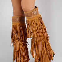 Fringe Woven Pointy Toe Knee High Hidden Wedge Boot