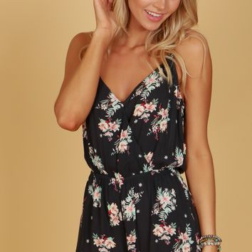 Pocketed Floral Ruffle Tank Romper Charcoal