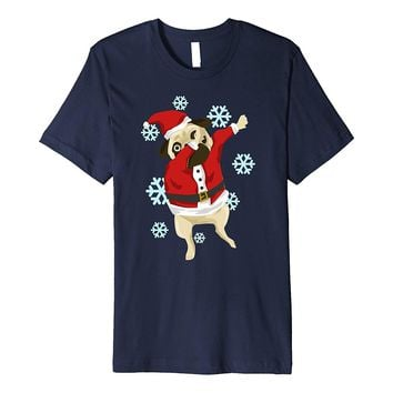 Dabbing Christmas Pug Funny Holiday Graphic Tshirt