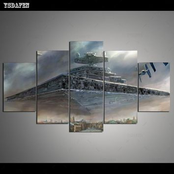 Star Wars Force Episode 1 2 3 4 5 HD 5 piece canvas art printed  Painting living room wall art canvas poster picture   AT_72_6