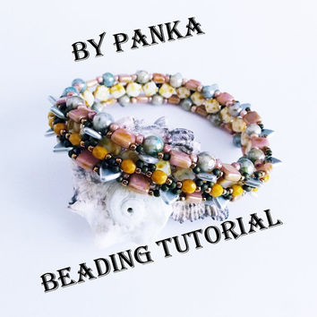 Beading bracelet tutorial. Beading pattern. How make to jewelry tutorial. Pdf file, pfd instruction. Czech triangle bracelet pattern.