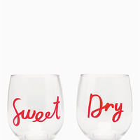 sweet & dry acrylic stemless wine glass set | Kate Spade New York