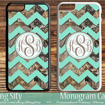 Camo Mint Chevron Monogram iPhone 5C 6S Plus Case iPhone 5s 4 case Ipod Realtree Custom Cover Zig Zag Personalized Country Inspired Girl