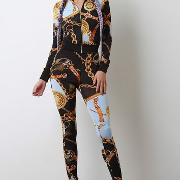 Belted Chain Print Zip-Up Jacket with Leggings Set