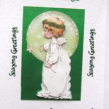 Christmas Card - Seasons Greetings Hand-Crafted 3D Decoupage Card - (1507)