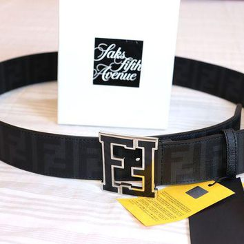 Gotopfashion NEW Authentic Fendi College Zucca FF Belt BLACK 115/46 40-42 waist