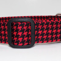 Red and Black Houndstooth Dog Collar