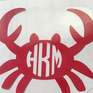 Crab Monogram Decal - Nautical Crab Monogram - Personalized Crab - Crab Monogram Iron On - Maryland Crab Monogram - Customized Crab Monogram