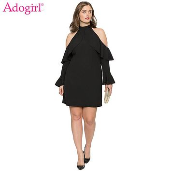 Adogirl Plus Size Womens Cold Shoulder Ruffle Casual Mini Dress Elegant Sexy Black Halter Flare Long Sleeve Short Party Dresses