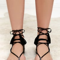 Sun Kiss Black Suede Lace-Up Flat Sandals