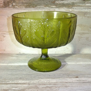 Green Depression Glass Leaf Pedestal Bowl