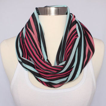 Lightweight Infinity Scarf - Pink, Aqua and Black Striped