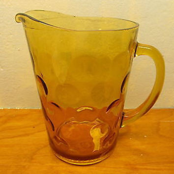 VINTAGE FOSTORIA BUBBLE BEVERAGE PITCHER AMBER COLORING