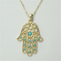 Turquoise and Gold Hamsa Hand Necklace Fatima Evil Eye