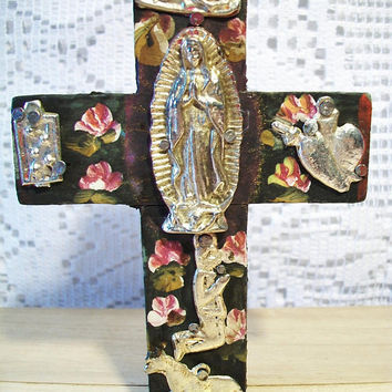 Vintage Floral Wood Cross Handmade Hand Painted Wooden Religious Folk Art Home Decor
