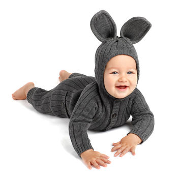 BUNNY SUIT for Baby and Toddler - Handmade Woven Cotton Gray Rabbit Romper - Baby Costume by Designer Spencer Hansen for Blamo Toys