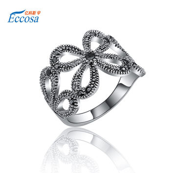 New 2016 Fashion Wedding Ring With Flower Vintage Silver Plated Love Rings For Women Engagement Jewelry Sapphire-Jewelry