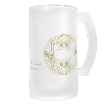 Retro Cute Owls & Roses Design Personalized Frosted Glass Mugs: Unique Wedding Gift: For Cold or Hot Drinks