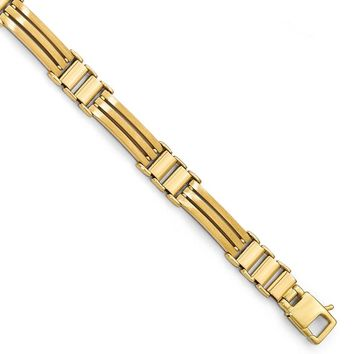 8.25mm 14k Yellow Gold Polished & Brushed Men's Link Bracelet, 8.25 in