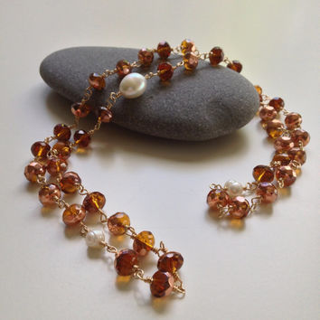 Copper Glass Beads & Freshwater Pearl Necklace, Glass Bead Necklace, Pearl Necklace, Copper, White Single Strand Necklace