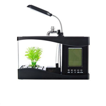 Creative multi-function USB mini aquarium fish tank LED lamp Pen small goldfish bowl Black