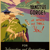 Yangtsze Gorges China Vintage Travel Poster