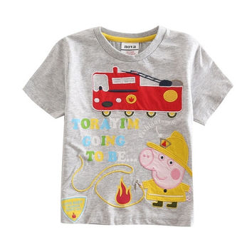 peppa pig boy t shirt with two color white and red = 1930535108